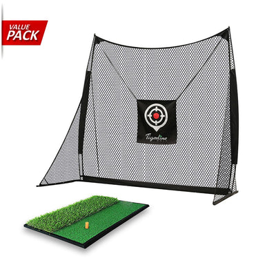 [VALUE PACK] Tigerling Swing Trainer Golf Net & Dual Turf Hitting Mat