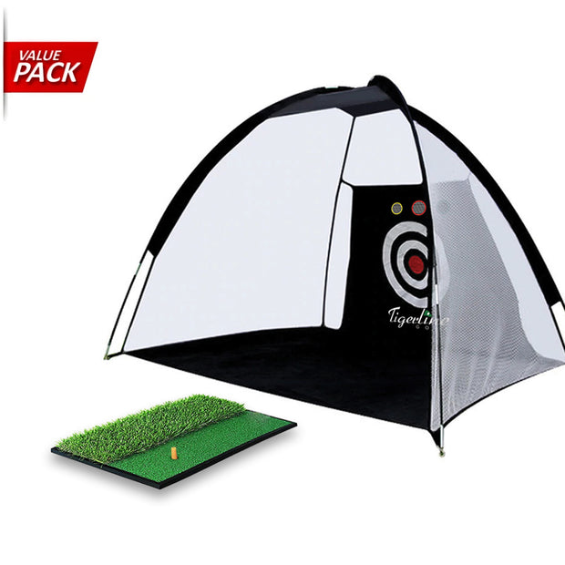 [VALUE PACK] Tigerline Golf 3 Meter Hitting Cage & Dual Turf Hitting Mat