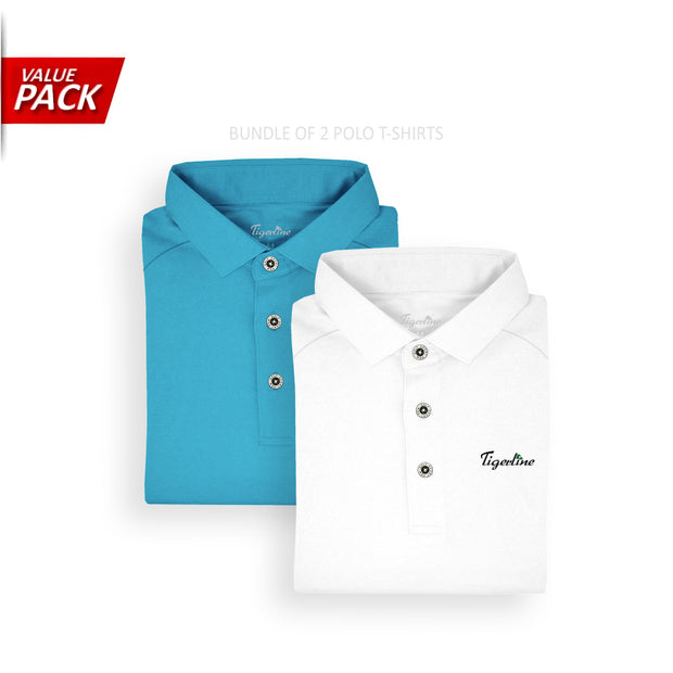 [VALUE PACK] 2 Essential Polo Shirts Blue & White