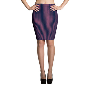 9c4f2fe99 Navy & Pink Curved Pinstripe Pencil Skirt – HyperShaped