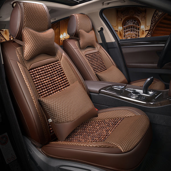 Natural Wooden Beads Car Seat Cover Massage Cushion Luxury Leather