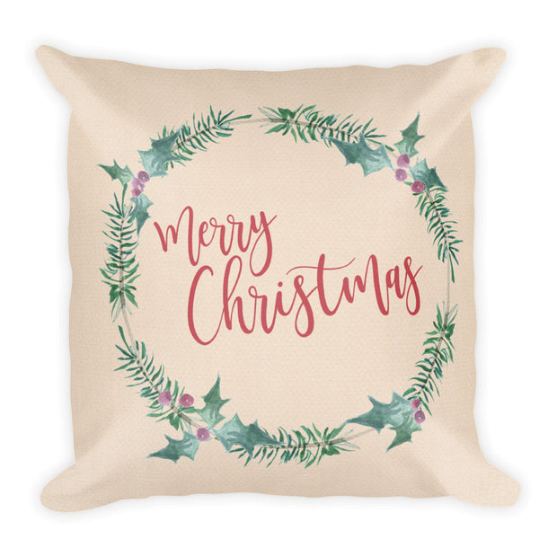 merry christmas traditional wreath decorative pillow