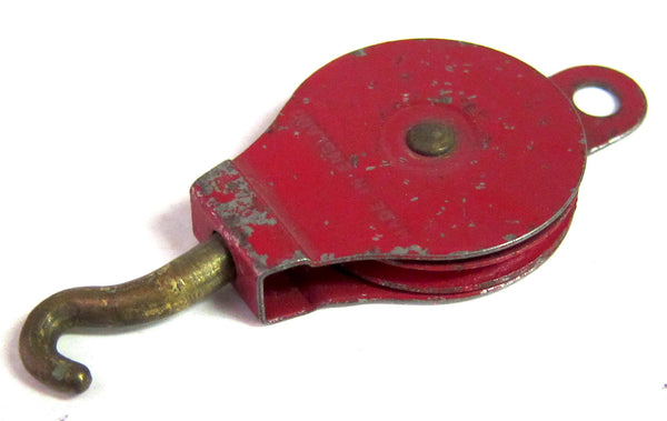 PULLEY BLOCK 151 1950'S ONE SHEAVE RED PULLEY