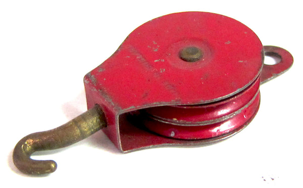 PULLEY BLOCK 152 1950'S TWO SHEAVE RED PULLEYS
