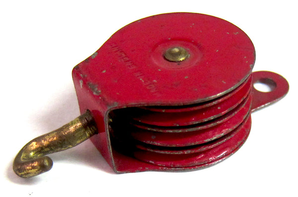 PULLEY BLOCK 153 1950'S THREE SHEAVE RED PULLEYS
