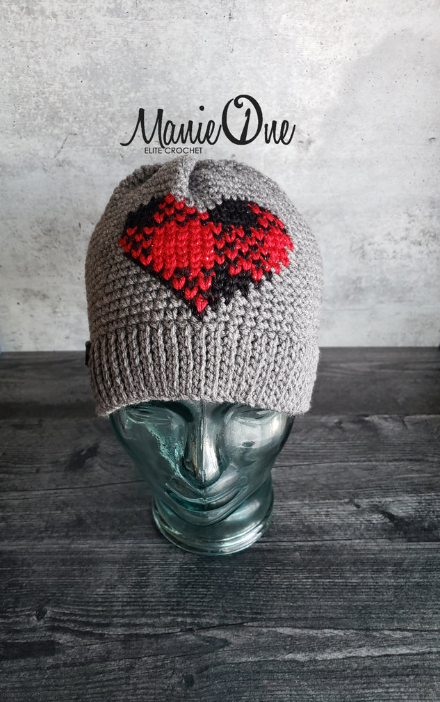 Plaid Heart Beanie