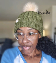 Load image into Gallery viewer, RTS Crochet Ribbed Beanie in Metallic Olive