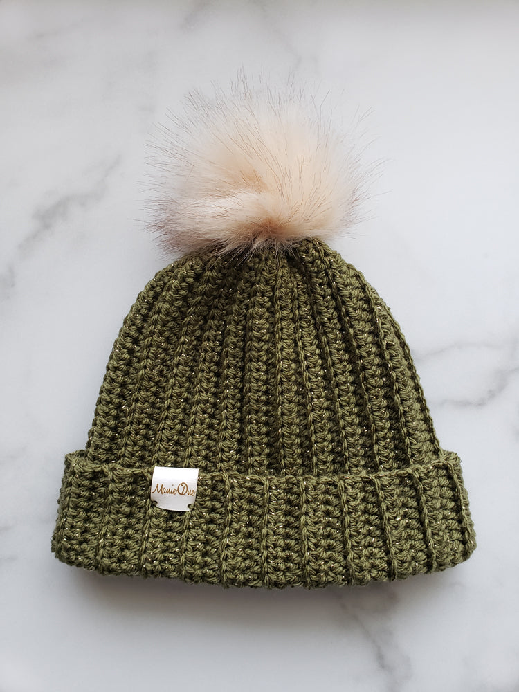 RTS Crochet Ribbed Beanie in Metallic Olive