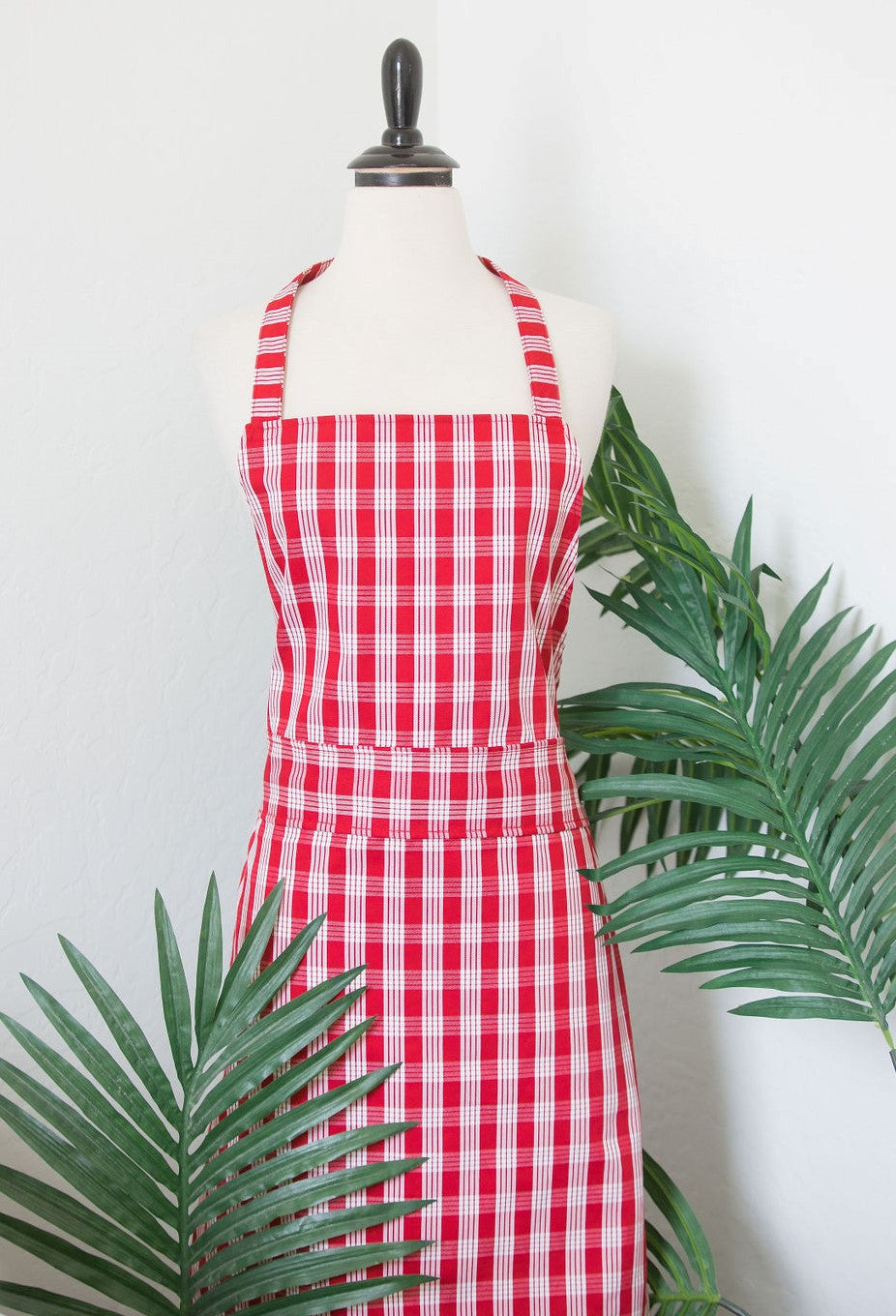 Red Palaka Print Tie-Back Apron- One Size