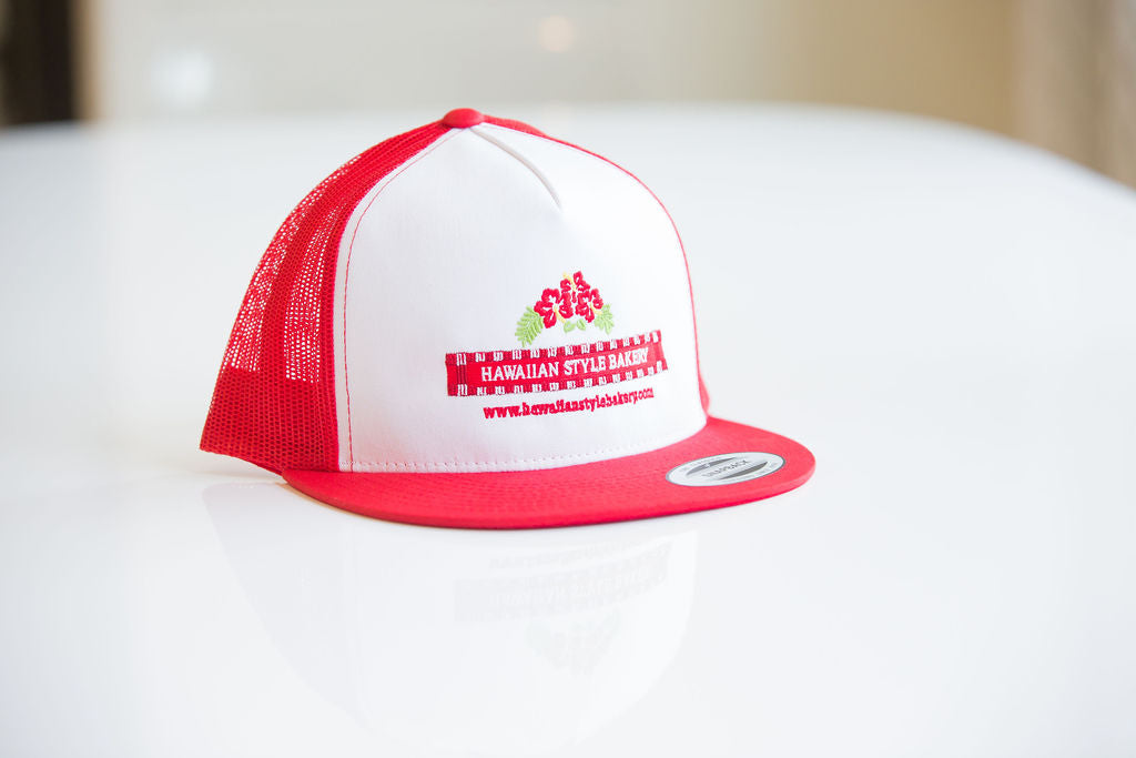 Red/White Combo Snap-back Embroidered Trucker Cap