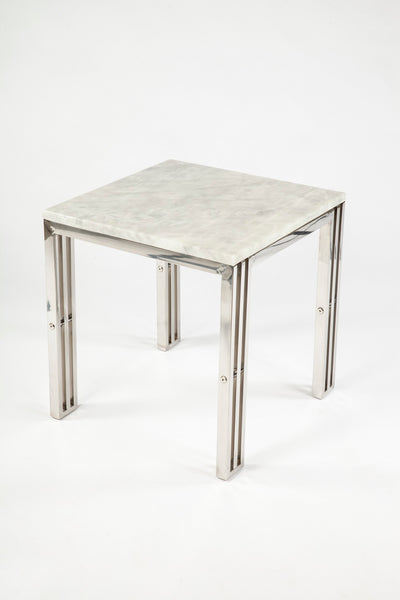 End Table With Carrara Marble and Stainless Steel Frame [FHT05SSMBL]2