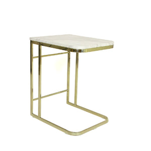 [FHT40MBLGLD] Carrara Marble Side Table With Stainless Steel Frame