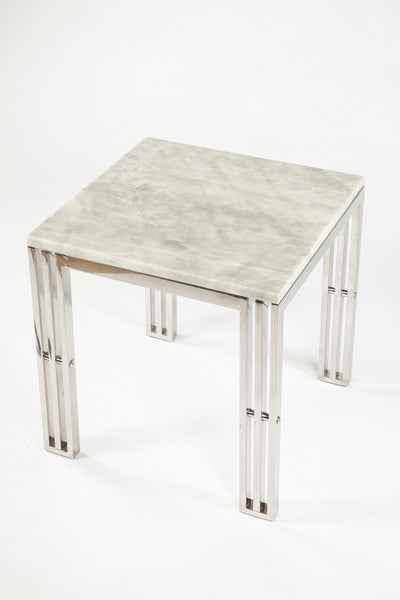 End Table With Carrara Marble and Stainless Steel Frame [FHT05SSMBL]