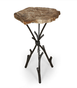 Good Form Petrified wood smoking table with tripod base with hand forged steel rope binding [FM135BLK]