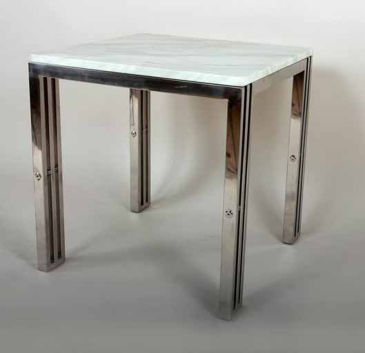 End Table With Carrara Marble and Stainless Steel Frame [FHT05SSMBL] 1