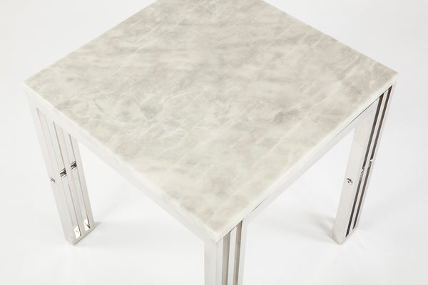 End Table With Carrara Marble and Stainless Steel Frame [FHT05SSMBL]3