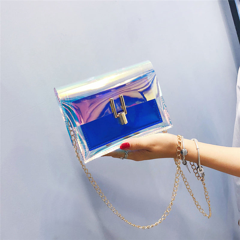 Laser Transparent Bags Fashion  Messenger PVC Waterproof Bag - Lellasbags
