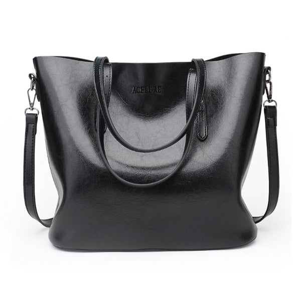 Women Shoulder Bag Fashion Women Handbags Oil Wax Leather Large Capacity - Lellasbags