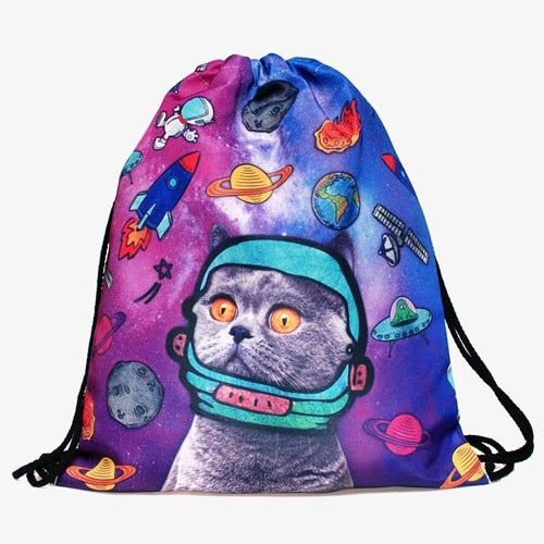 Cat escape 3D printing Women backpack drawstring bag - Lellasbags