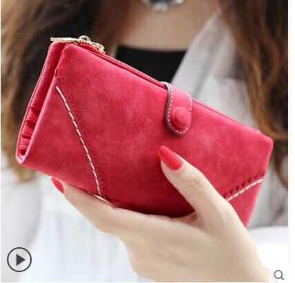Nubuck Leather Women Wallets - Lellasbags
