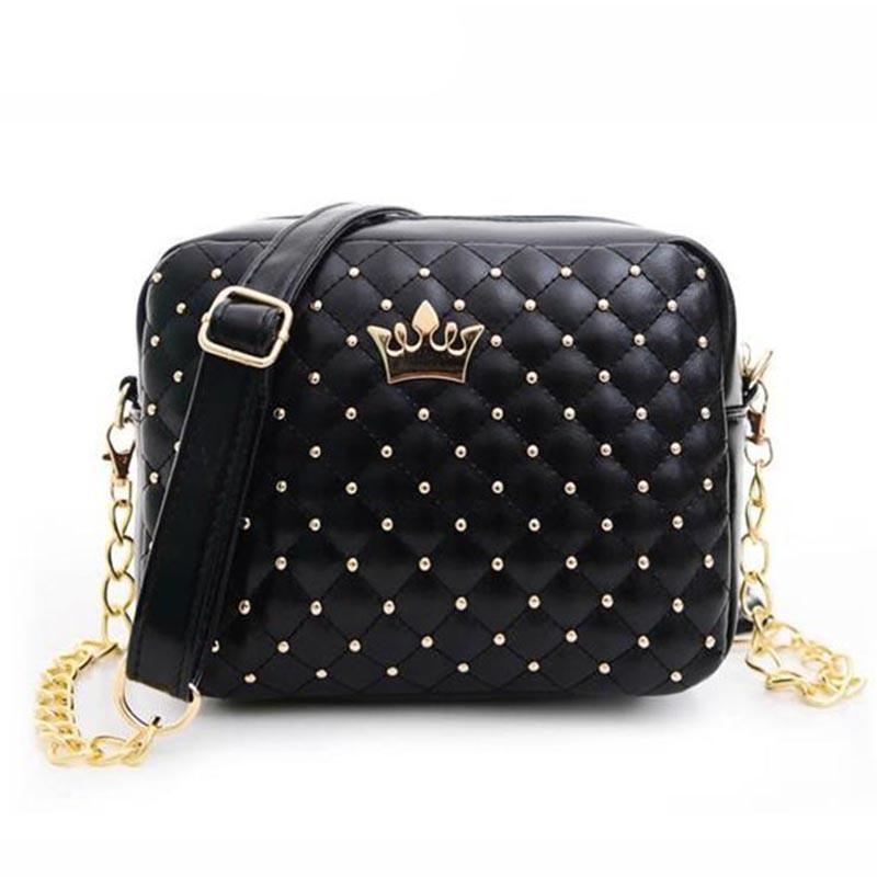 Rivet Chain PU Leather Crossbody Crown Bags - Lellasbags