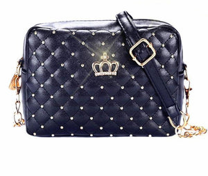 Crown Rivet Chain PU Leather Crossbody Bags - Lellasbags