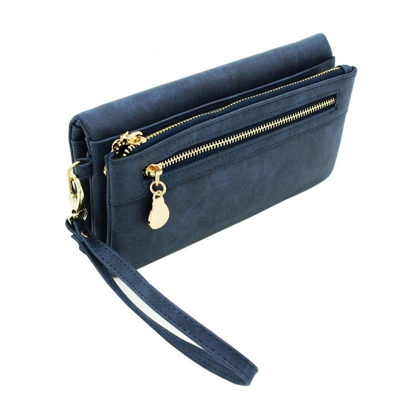 High Capacity Long Dull Polish PU Leather Wallet - Lellasbags