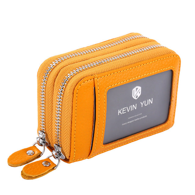 Genuine Leather Double Zipper ID Card Holder - Lellasbags
