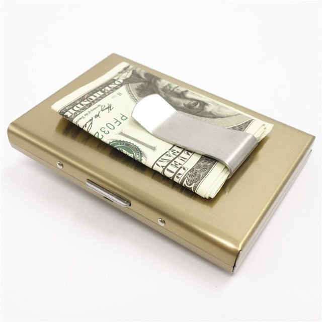 Stainless Steel Aluminium Metal Case Box Men  Business Credit  Card&ID Holder - Lellasbags