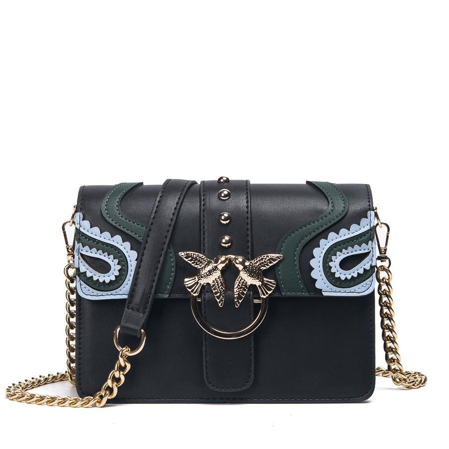 Lady Rivet Chain Leather Crossbody Bags - Lellasbags