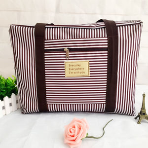 Striped Waterproof Large Capacity Travel Bag - Lellasbags
