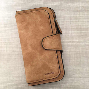 Faux Suede Hasp Solid Leather Wallet - Lellasbags