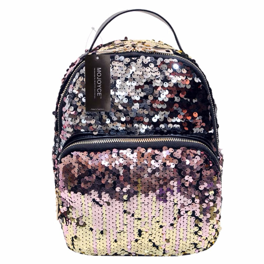 All-match PU Leather Sequins Backpack - Lellasbags