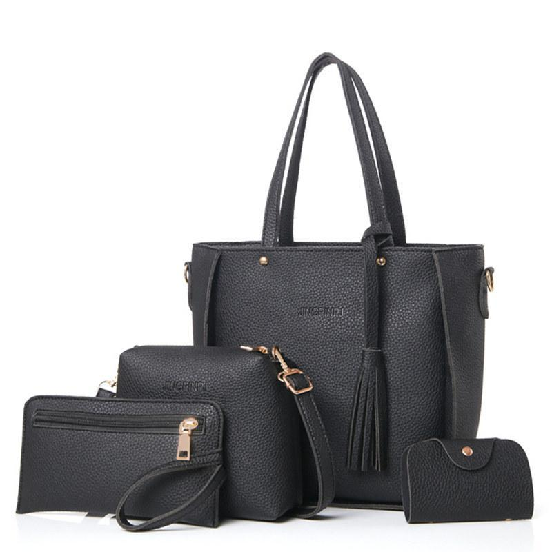 Top-Handle Big Capacity Female Tassel Handbag - Lellasbags