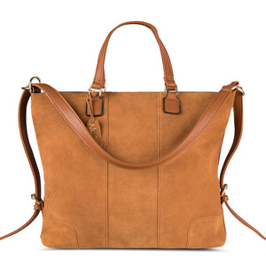 Real Split Suede Leather Shoulder Top Handle Bags - Lellasbags