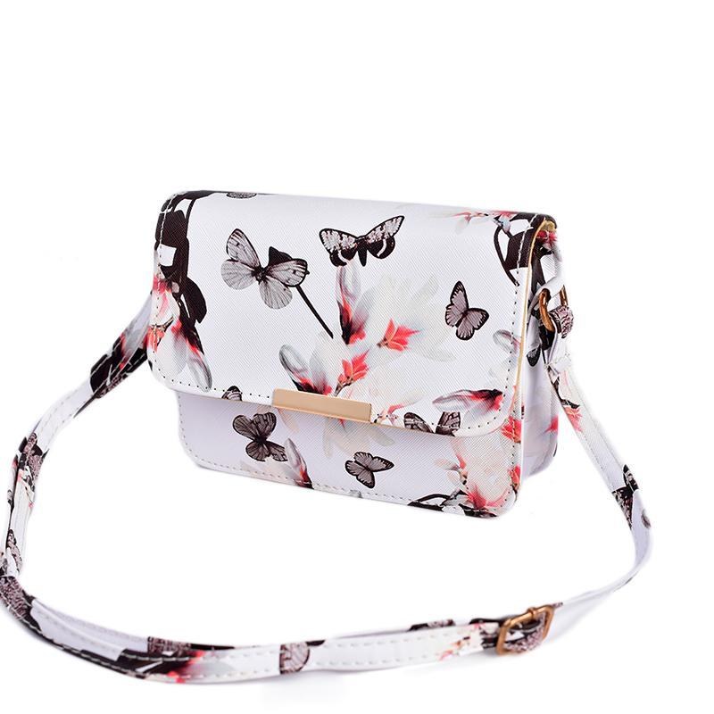Floral Leather Retro Female Shoulder Bag - Lellasbags