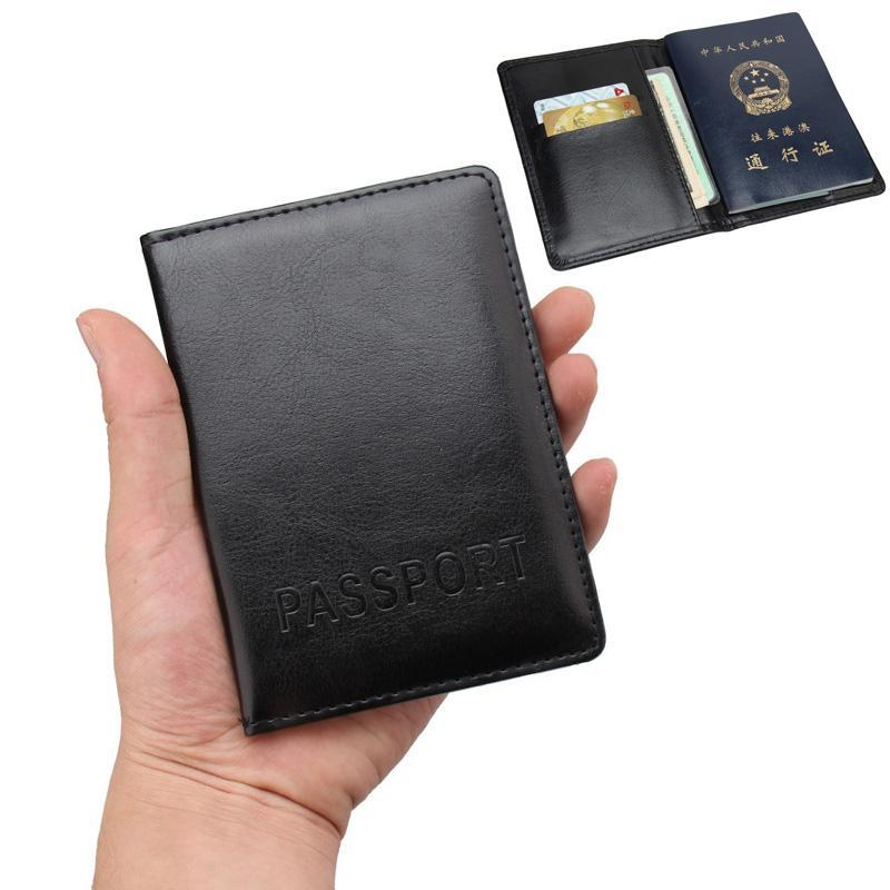 PU Leather Passport Cover with Credit Card Holder - Lellasbags