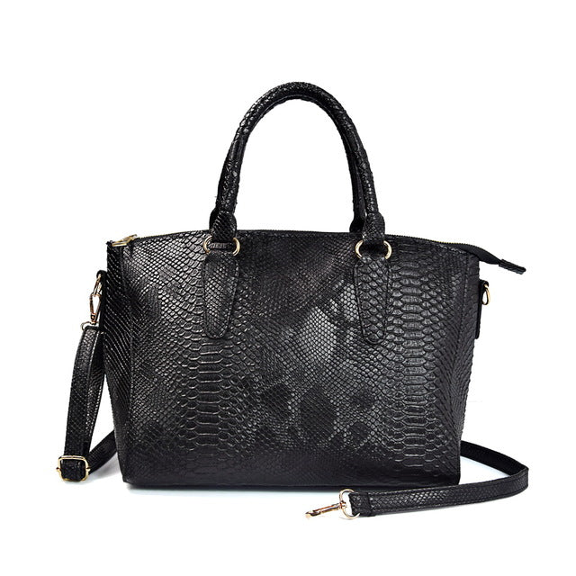 Snake PU Leather Large Top Handle Tote Bag - Lellasbags