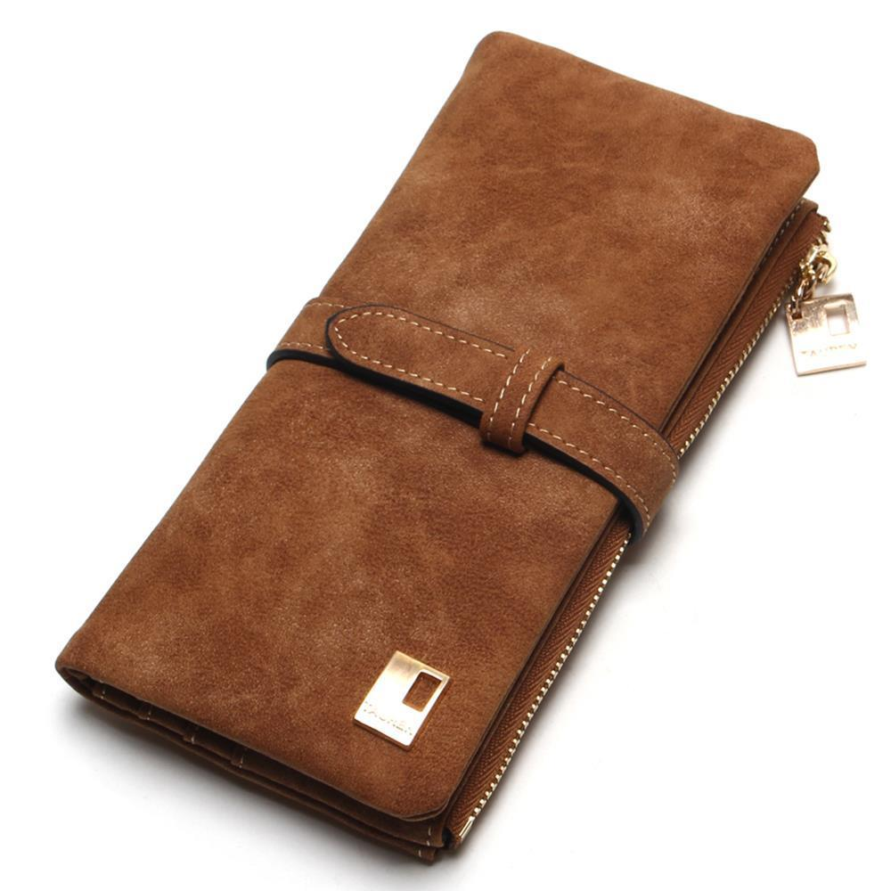 Drawstring Nubuck Leather Zipper Wallet - Lellasbags