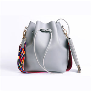Colorful Strap Bucket PU Leather Crossbody Bags - Lellasbags