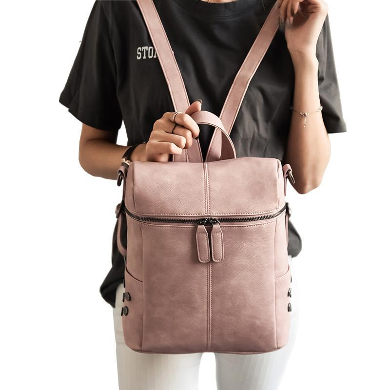Simple Style PU Leather Backpacks - Lellasbags