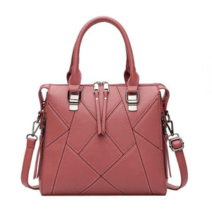 Geometric Zipper Crossbody Top Handle Bag - Lellasbags