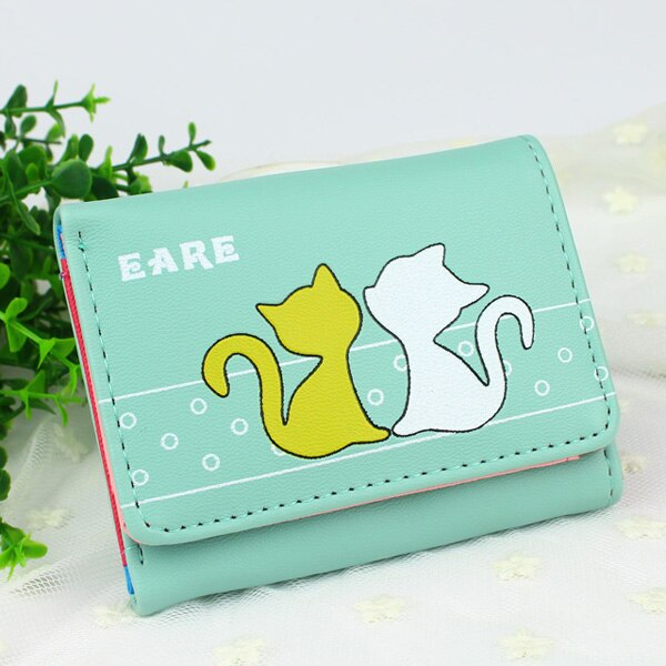 Lady Purses Cat Pattern Women Wallets Cards Holder - Lellasbags