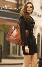 Women bag Oil wax  Leather Women's Handbags Luxury Lady Hand Bags - Lellasbags