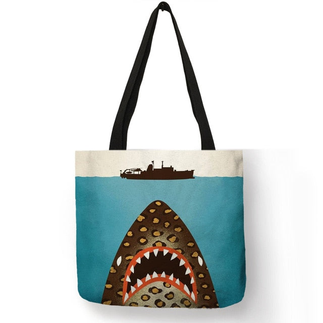 Women Tote Bag Sac  Sea Animal Turtle Whale Octopus Shoulder Bag Eco Linen Daily Office Reusable Handbag - Lellasbags