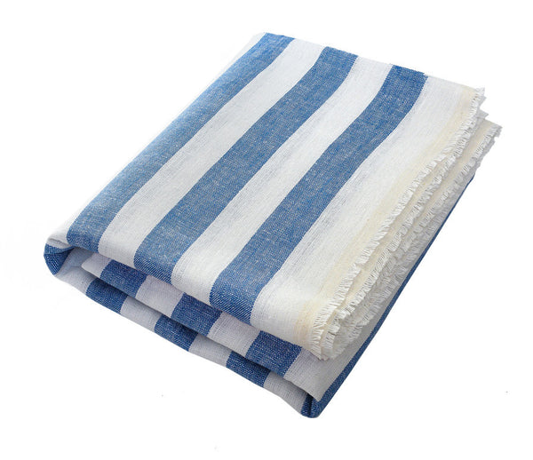 Alfons Blue: Wide Striped Linen Beach Towel - Deck Towel
