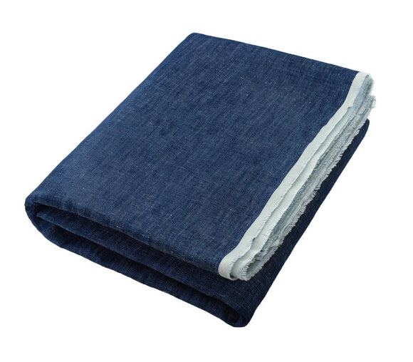 Chloe Indigo/Denim Linen Beach Towel - Deck Towel