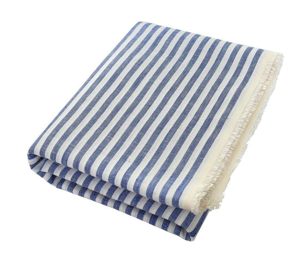 The Dries: Classic Thin Blue and White Stripe Linen Beach Towel - Deck Towel