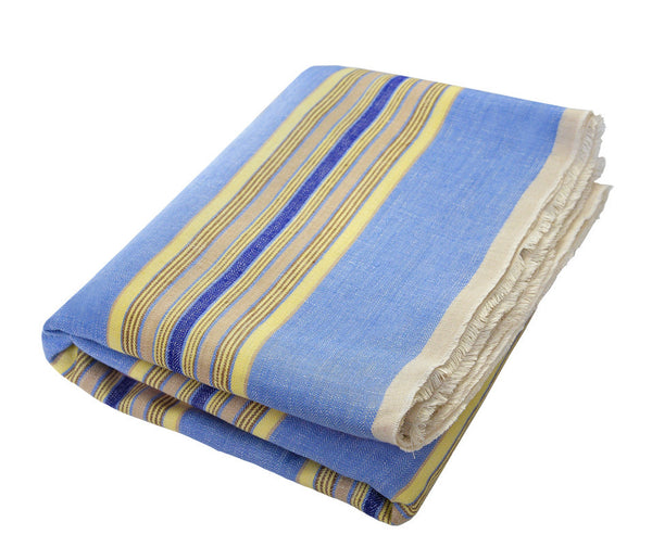 Ophelie Blue: Light Blue, Royal Blue, Mocha, Chocolate and Yellow Stripe Linen Beach Towel - Deck Towel