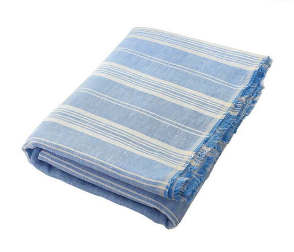 Bleeker Cornflower Blue Linen Beach Towel - Deck Towel